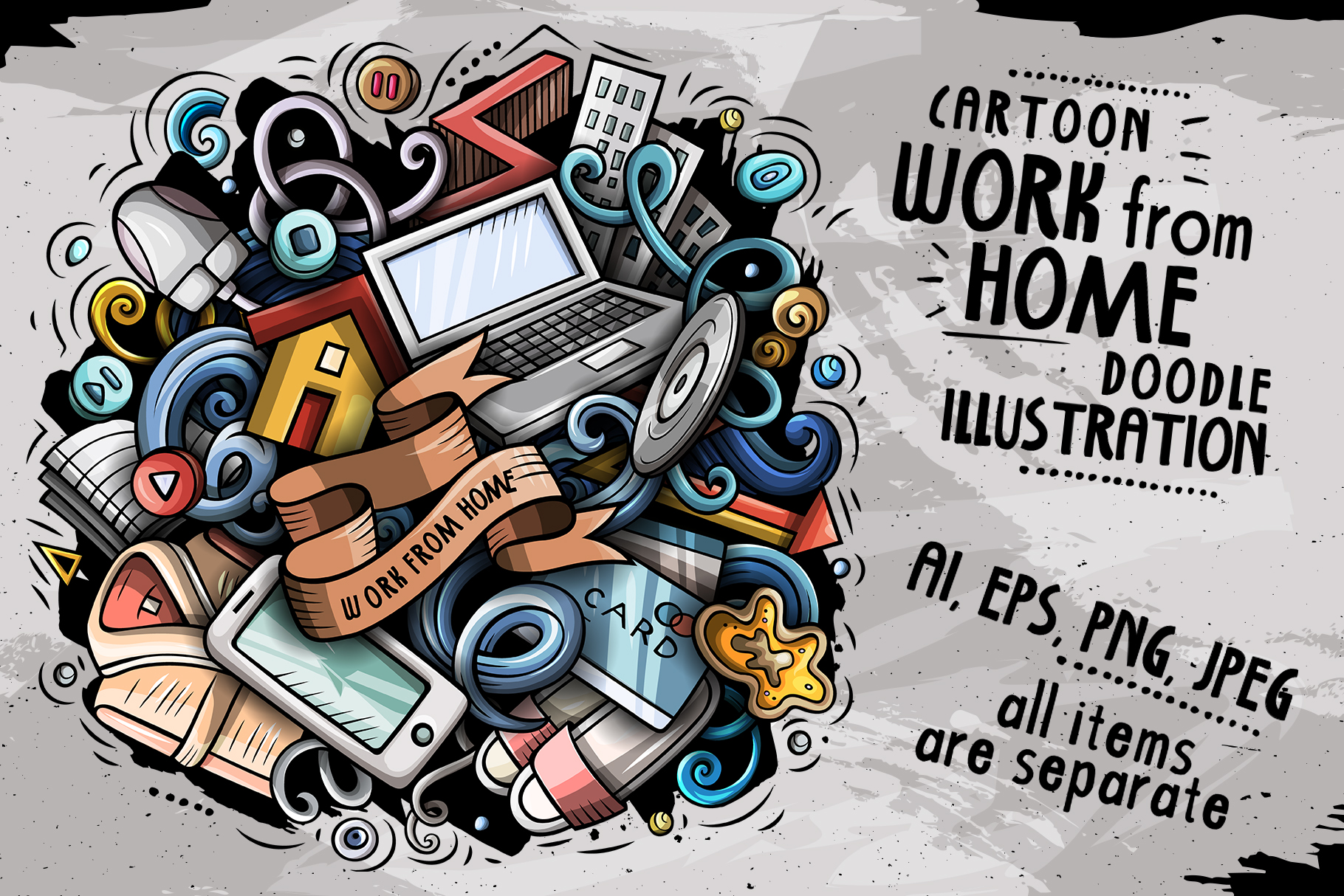 Download Free Work From Home Cartoon Illustration Graphic By Balabolka for Cricut Explore, Silhouette and other cutting machines.