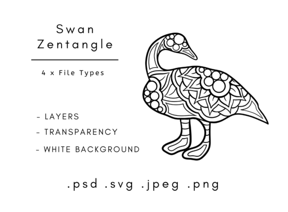 Download Free Zentangle Animals Swan Graphic By Linnypig Designs Creative for Cricut Explore, Silhouette and other cutting machines.