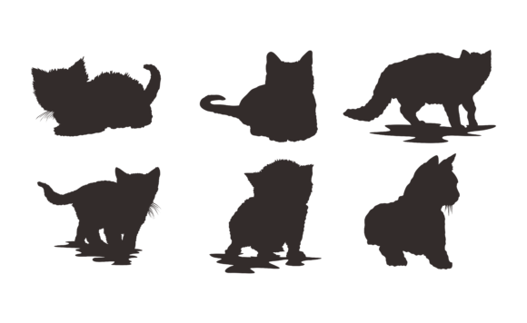 Print on Demand: Set of Animal - Cat Silhouette Vector Graphic Crafts By Arief Sapta Adjie