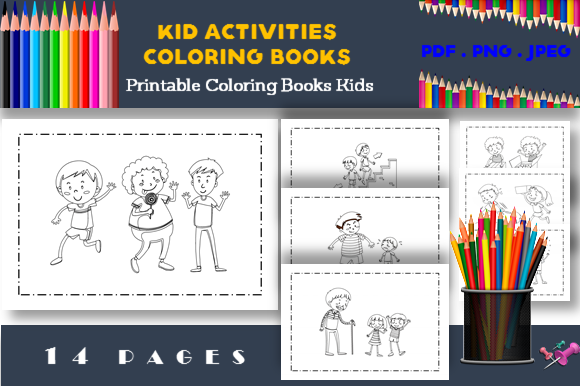 Print on Demand: 14 Children Activities Coloring Book Graphic Coloring Pages & Books Kids By icutletterstudio