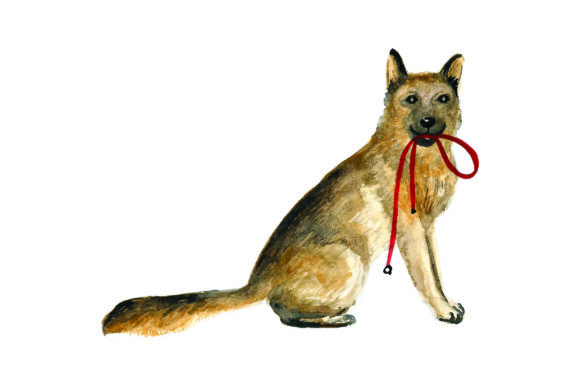 German Shepherd with Leash in Mouth Dogs Craft Cut File By Creative Fabrica Crafts