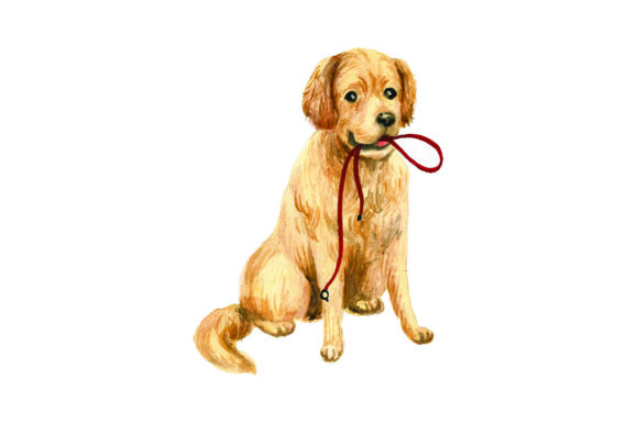 Golden Retriever with Leash in Mouth Dogs Craft Cut File By Creative Fabrica Crafts