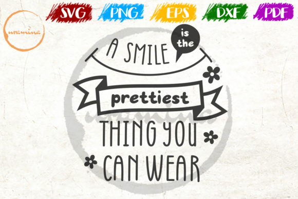 Download Free A Smile Is The Prettiest Thing You Can Graphic By Uramina for Cricut Explore, Silhouette and other cutting machines.