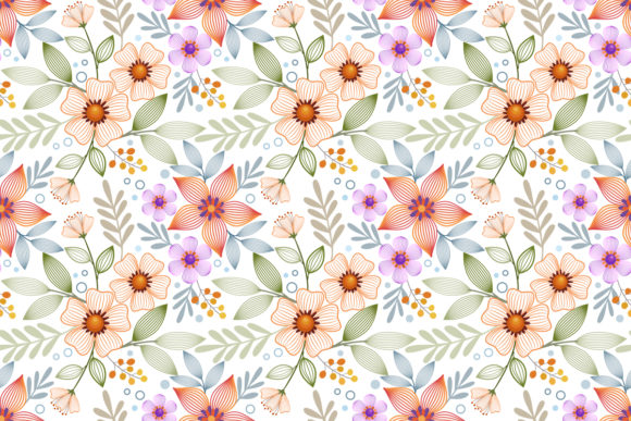 Abstract Line Flowers Seamless Pattern. Graphic Patterns By ranger262