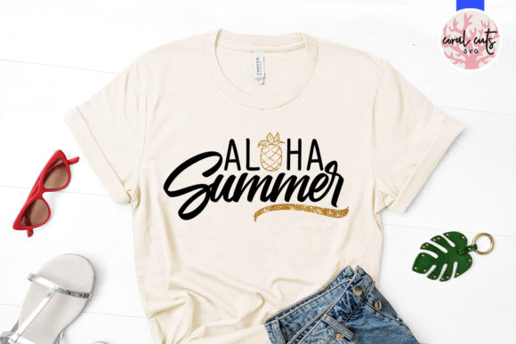 Download Free Aloha Summer Graphic By Coralcutssvg Creative Fabrica for Cricut Explore, Silhouette and other cutting machines.
