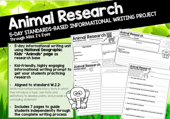 Animals: 5-Day Writing/Research Project Graphic 2nd grade By hi miss i