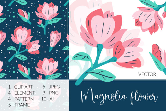 Print on Demand: Beautiful Magnolia Flowers Vector Pack. Graphic Objects By FoxBiz