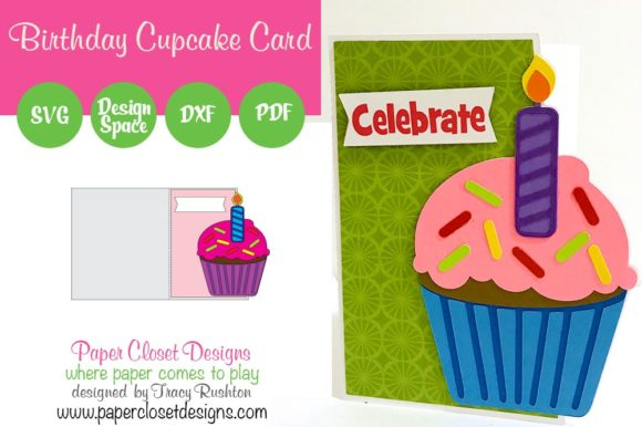 Download Free Birthday Cupcake Card Graphic By Rushton Tracy Creative Fabrica for Cricut Explore, Silhouette and other cutting machines.