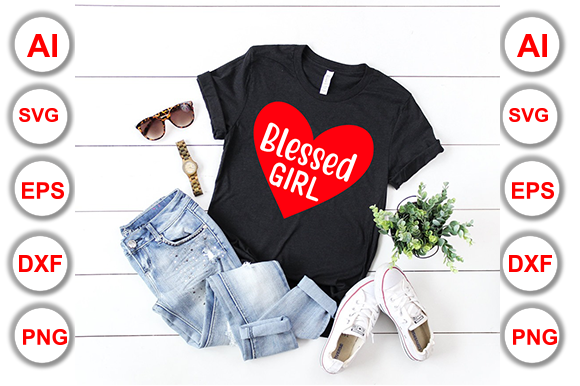 Download Free Blessed Girl Graphic By Graphics Cafe Creative Fabrica for Cricut Explore, Silhouette and other cutting machines.