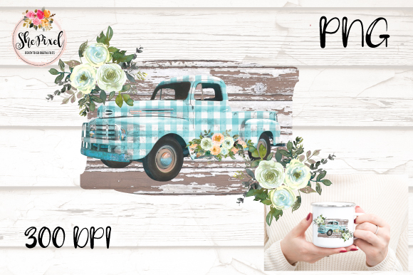 Download Free Blue Vintage Truck Transparent Graphic By Shepixel Creative for Cricut Explore, Silhouette and other cutting machines.