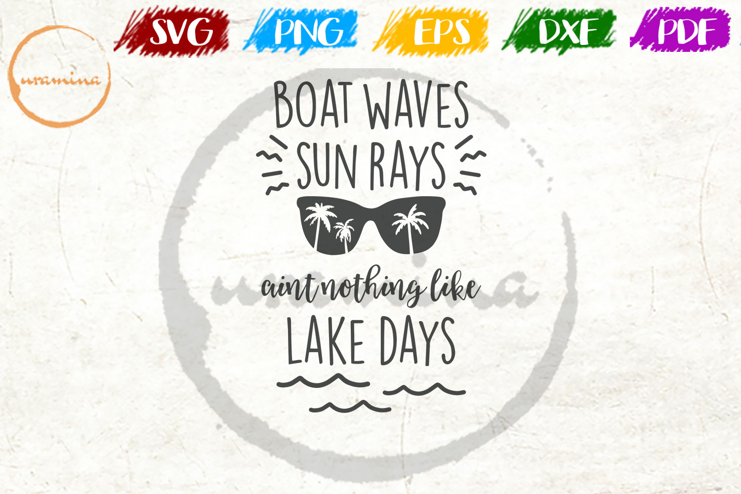 Download Free Boat Waves Sun Rays Aint Nothing Like Graphic By Uramina for Cricut Explore, Silhouette and other cutting machines.