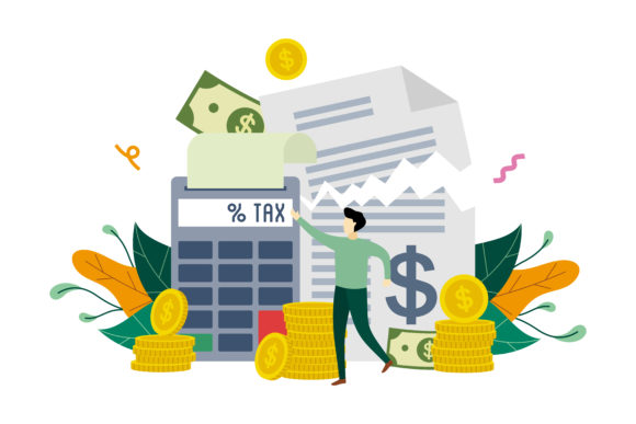 Download Free Calculation Of Tax Payment Illustration Graphic By Lartestudio for Cricut Explore, Silhouette and other cutting machines.