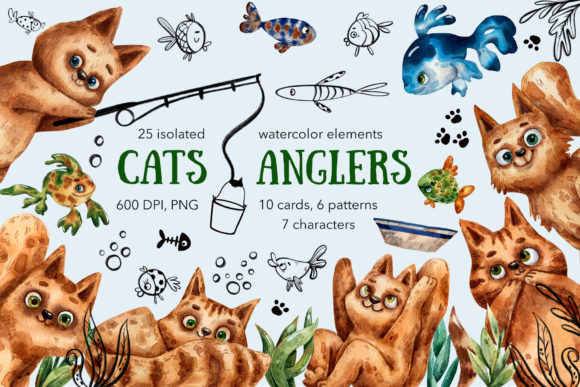 Cats Anglers - Watercolor Graphic Illustrations By mashamashastu