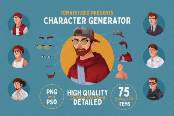 Download Free Character Potrait Generator Creator Graphic By Tomatstudio for Cricut Explore, Silhouette and other cutting machines.