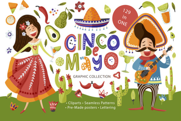 Print on Demand: Cinco De Mayo. Fiesta Graphic Pack Graphic Illustrations By Red Ink