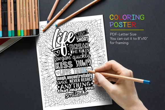 Coloring Quote Graphic Coloring Pages & Books Adults By danieladoychinovashop