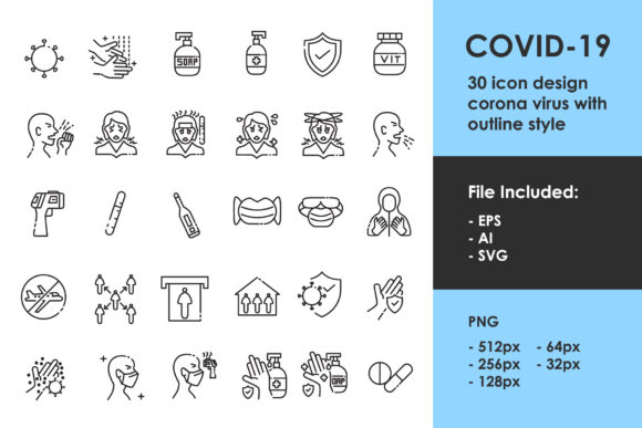 Print on Demand: Covid 19 Outline Icon Graphic Icons By Tosca Digital