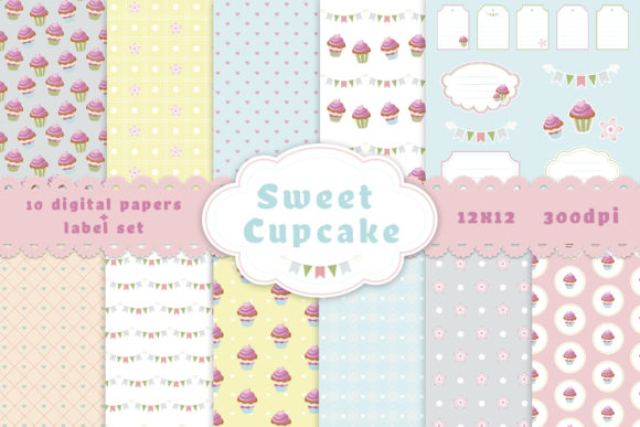 Download Free Cute Cupcake Digital Papers Graphic By Irina Shsce Creative for Cricut Explore, Silhouette and other cutting machines.