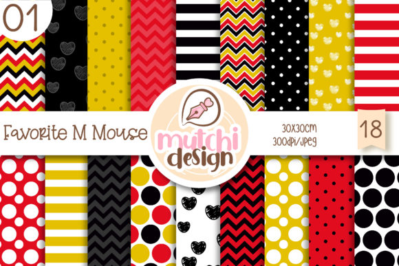 Print on Demand: Favorite M Mouse 01 Digital Papers Graphic Backgrounds By Mutchi Design