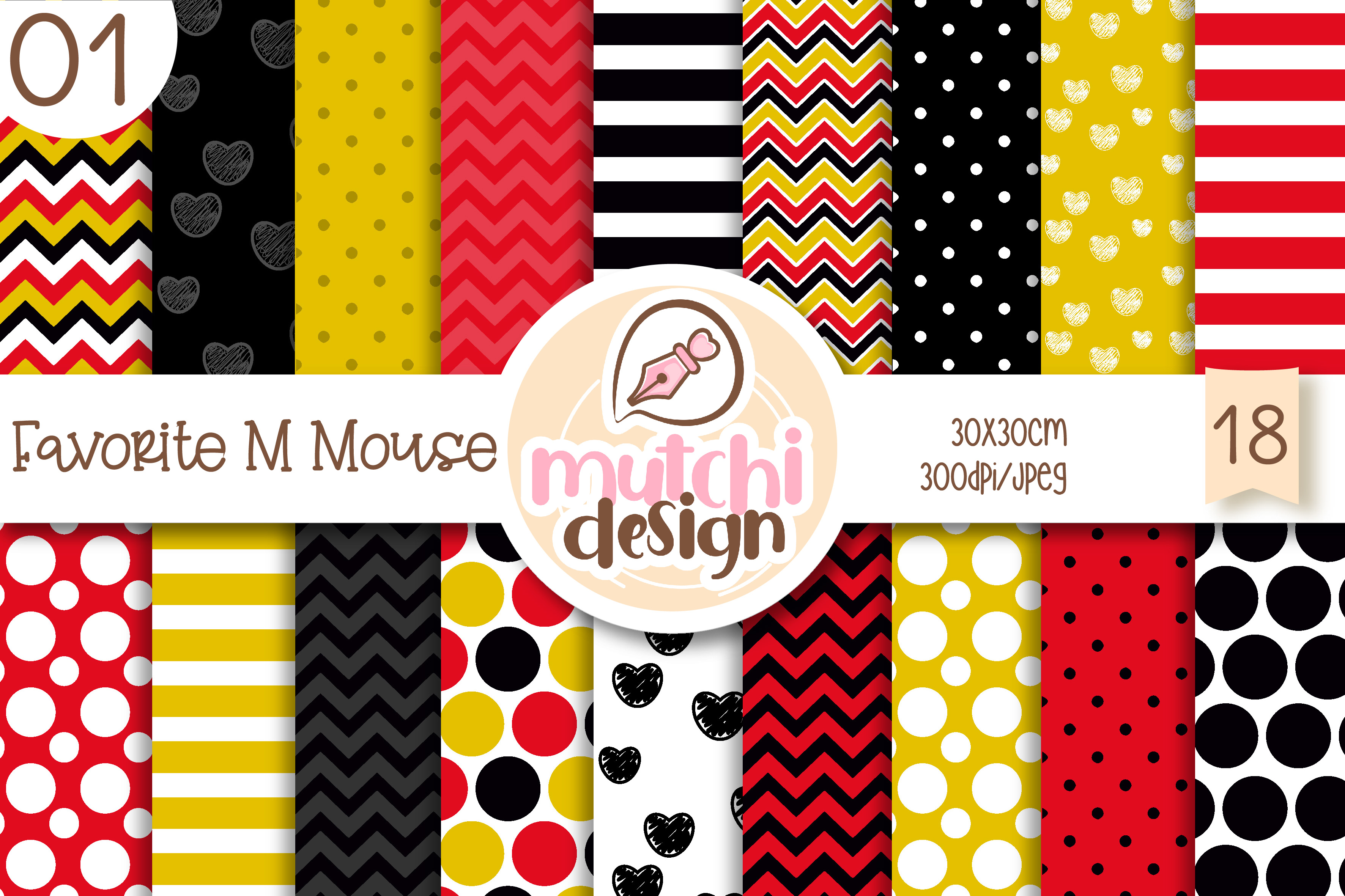 Download Free Favorite M Mouse 01 Digital Papers Graphic By Mutchi Design for Cricut Explore, Silhouette and other cutting machines.
