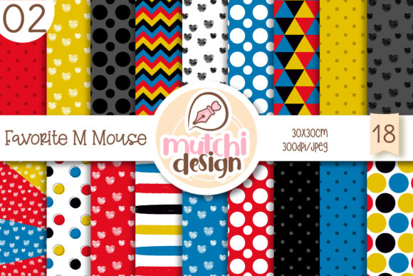 Print on Demand: Favorite M Mouse 02 Digital Papers Graphic Backgrounds By Mutchi Design