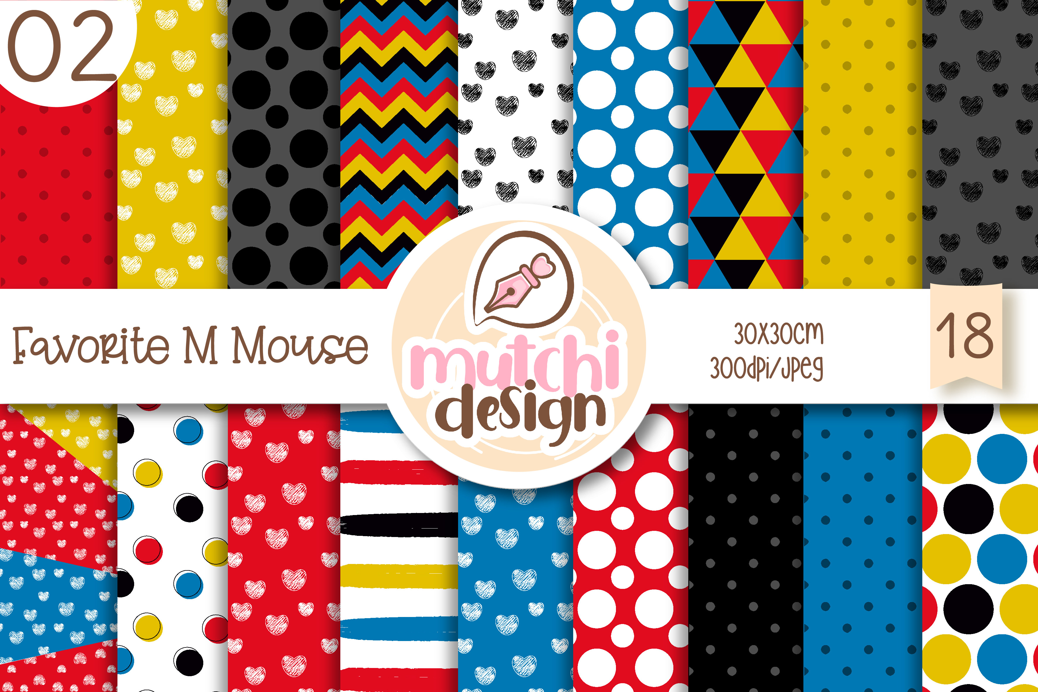 Download Free Favorite M Mouse 02 Digital Papers Graphic By Mutchi Design for Cricut Explore, Silhouette and other cutting machines.