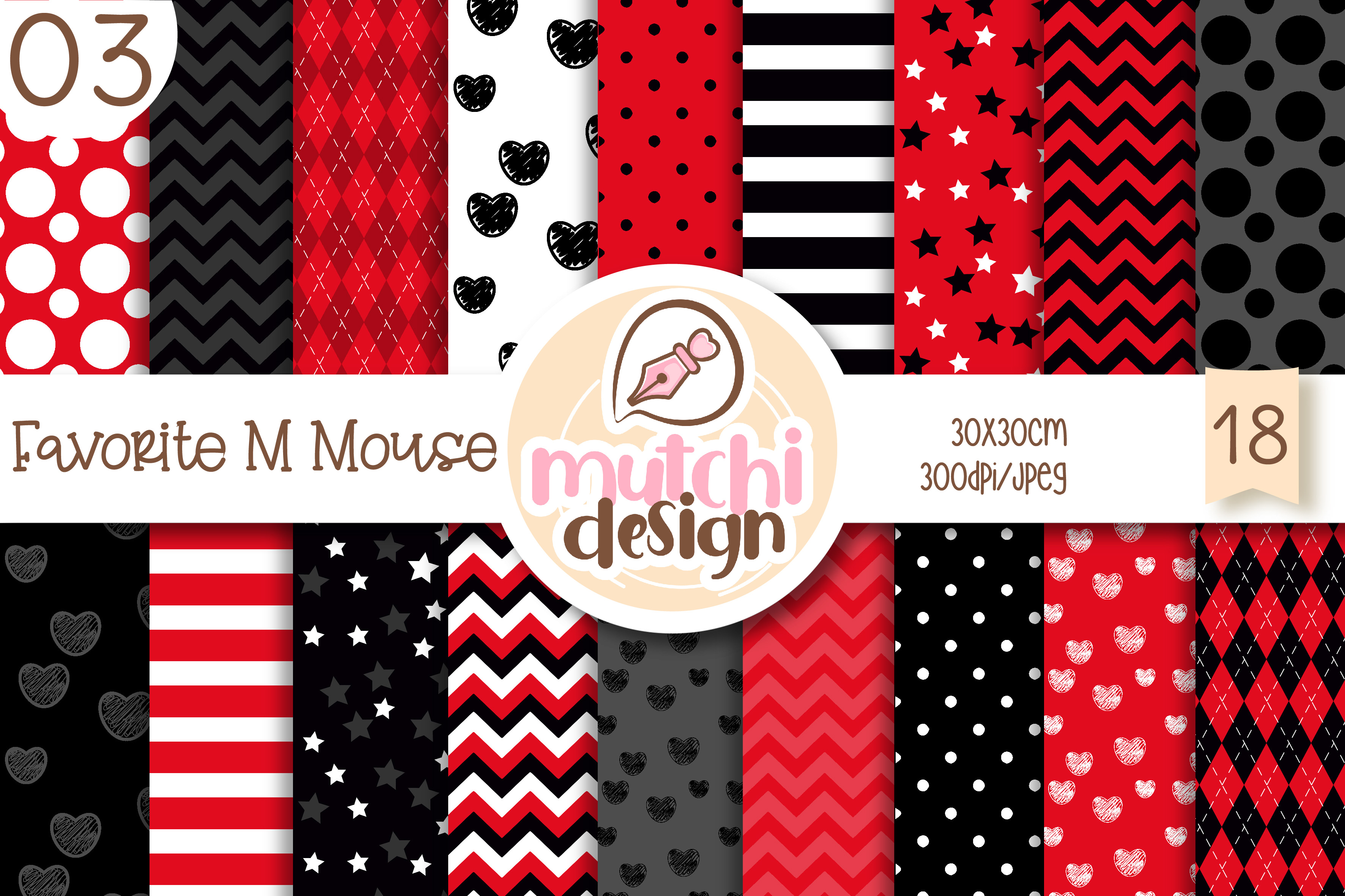 Download Free Favorite M Mouse 03 Digital Papers Graphic By Mutchi Design for Cricut Explore, Silhouette and other cutting machines.