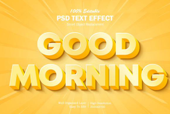 Download Free Good Morning 3d Text Effect Graphic By Goldani412 Creative Fabrica for Cricut Explore, Silhouette and other cutting machines.