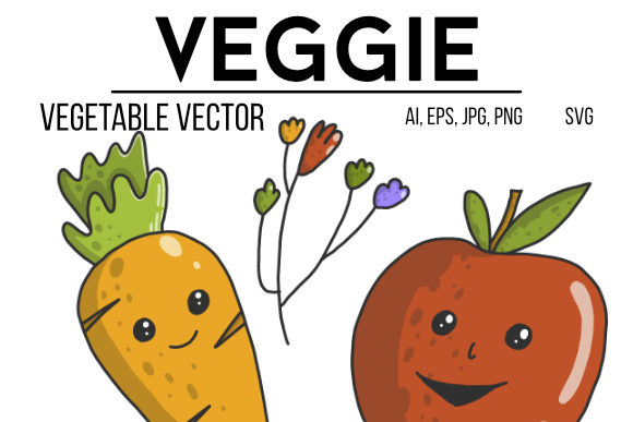 Print on Demand: Hand Drawn Vegetables and Fruits Graphic Illustrations By stanosh