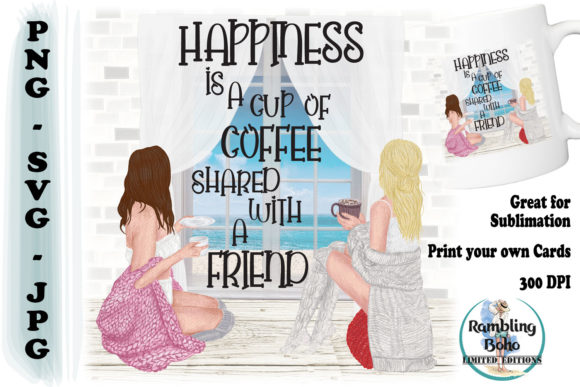 Happiness is a Cup of Coffee Graphic Illustrations By RamblingBoho