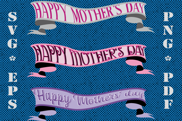 Happy Mother S Day Ribbons Bundle Graphic By Graphicsfarm