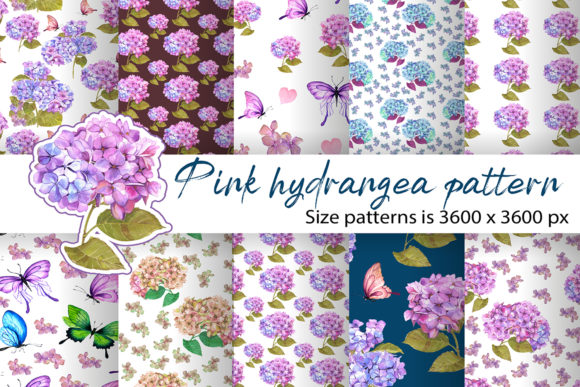 Download Free Hydrangea Watercolor Floral Papers Graphic By Elenazlataart SVG Cut Files