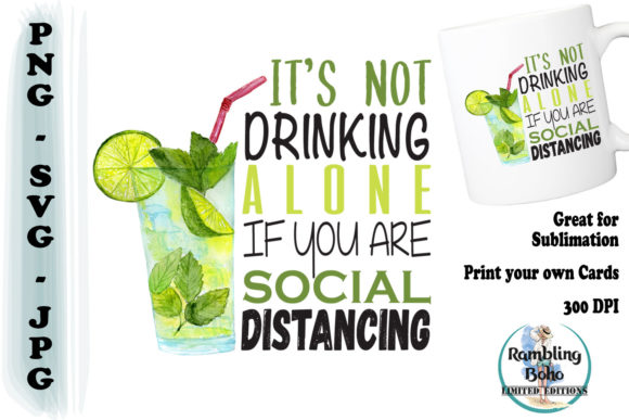 It's Not Drinking Alone Graphic Illustrations By RamblingBoho
