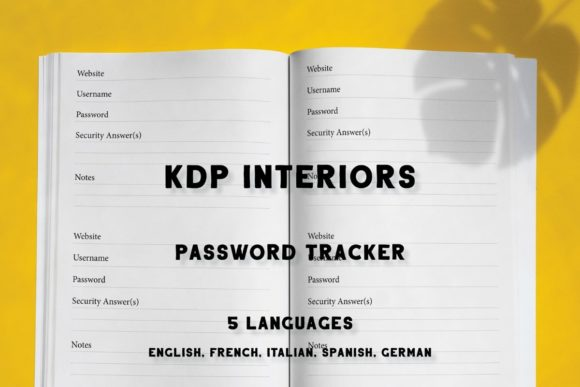 Download Free Kdp Password Tracker In 5 Languages Graphic By Income Plum for Cricut Explore, Silhouette and other cutting machines.