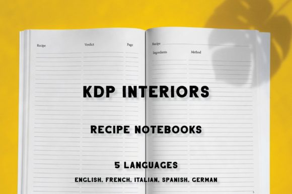Print on Demand: KDP Recipe Notebooks in 5 Languages Graphic KDP Interiors By Income Plum