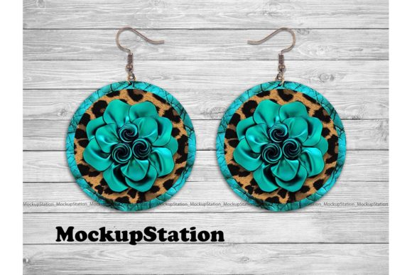 Leather Look Round Earring Design Graphic By Mockup Station