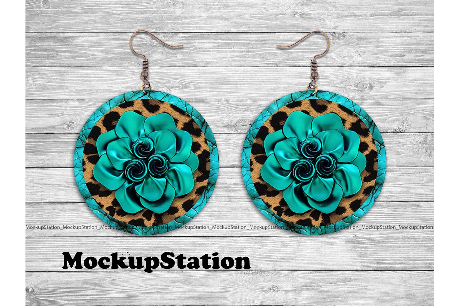 Download Free Leather Look Round Earring Design Graphic By Mockup Station for Cricut Explore, Silhouette and other cutting machines.