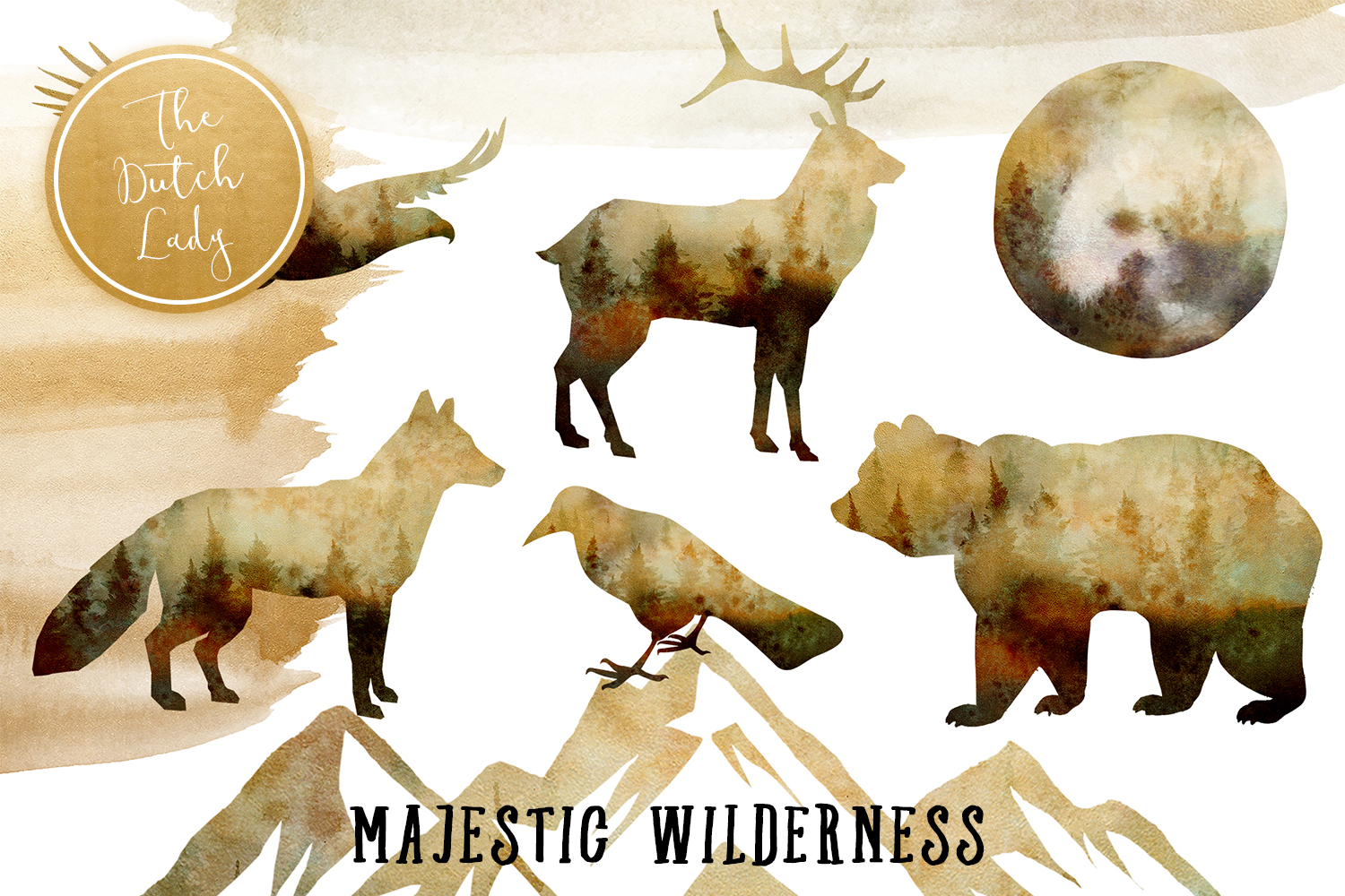 Download Free Majestic Wilderness Clipart Set Graphic By Daphnepopuliers for Cricut Explore, Silhouette and other cutting machines.