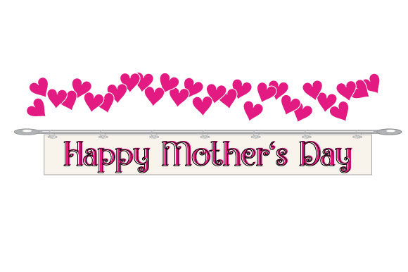 Download Free Mother S Day Hearts Banner Graphic By Graphicsfarm Creative for Cricut Explore, Silhouette and other cutting machines.