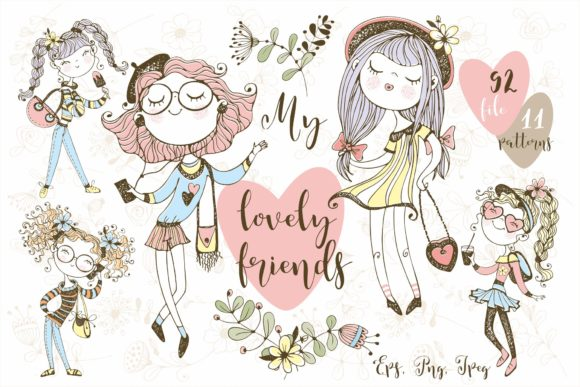 My Lovely Friends Graphic Illustrations By grigaola - Image 1