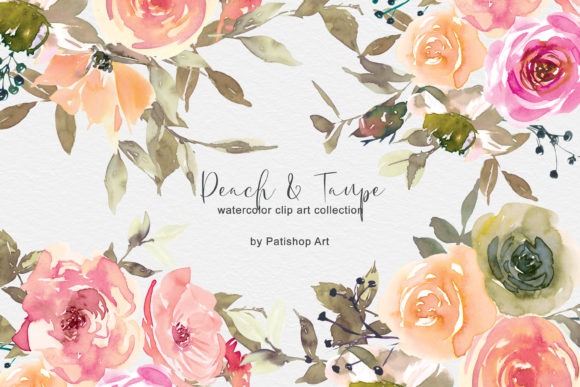 Peach & Taupe Floral Clip Art Watercolor Graphic Illustrations By Patishop Art