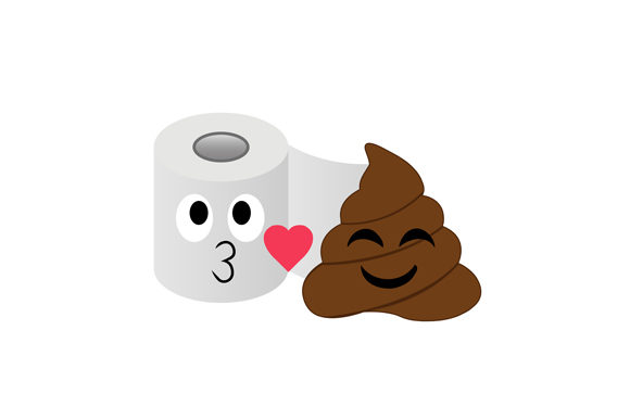 Poop and Toilet Tissue Couple Graphic Illustrations By shawlin
