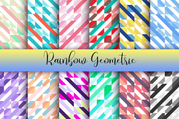 Rainbow Geometric Background Graphic Backgrounds By PinkPearly