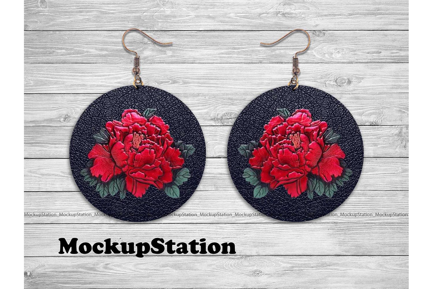 Download Free Rose Leather Look Round Earring Design Graphic By Mockup Station for Cricut Explore, Silhouette and other cutting machines.