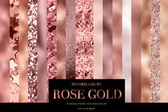 Print on Demand: Rose Gold Digital Paper, Rose Gold Paper Graphic Textures By TheRoseMind