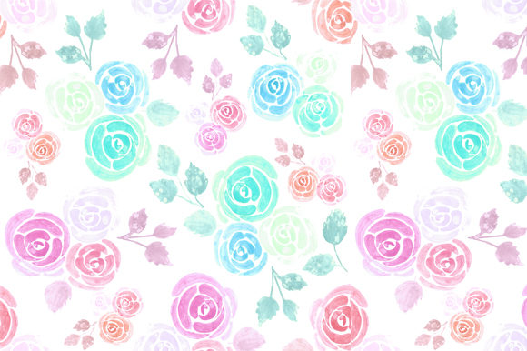 Seamless Watercolor Roses Graphic Backgrounds By shawlin