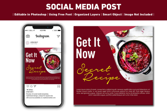 Download Free Social Media Post Recipe Template Graphic By Ant Project for Cricut Explore, Silhouette and other cutting machines.