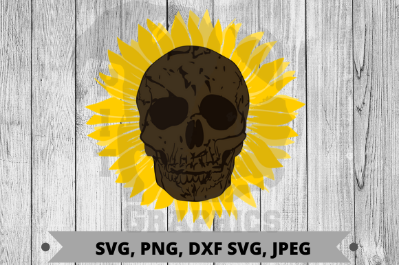Download Free Sunflower Skull Graphic By Pit Graphics Creative Fabrica for Cricut Explore, Silhouette and other cutting machines.