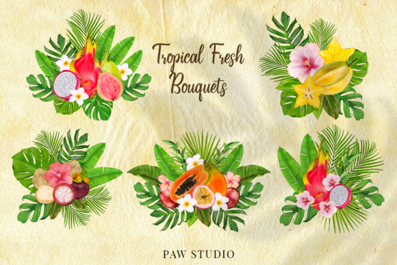 Print on Demand: Tropical Graphic Fruits, Flowers, Leaves Graphic Illustrations By PawStudio - Image 5