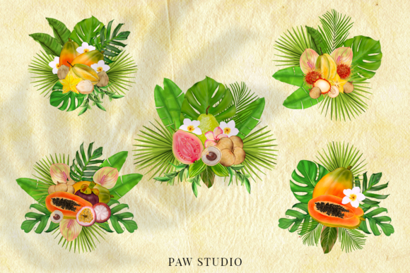 Print on Demand: Tropical Graphic Fruits, Flowers, Leaves Graphic Illustrations By PawStudio - Image 6